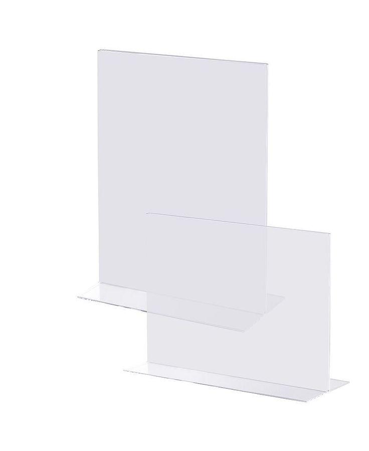 Acryl Aufsteller in T-Form Prospekt Halter Ständer für Tisch, Theke oder Tresen