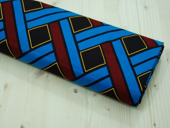African Design Fabric African wax Turquoise by SuomiiFabrics