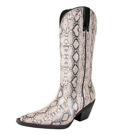 Look at this #zulilyfind! Bone & Black Stallion Cowboy Rain Boot #zulilyfinds