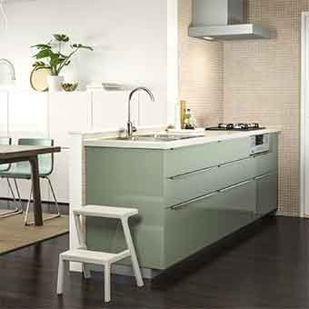 Ilot central vert dans une cuisine ouverte mini veranda for Cuisine kallarp