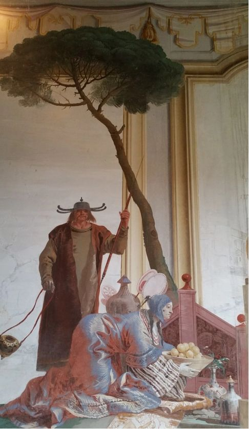 Giandomenico Tiepolo (1727-1804, figlio di Giambattista). Affresco di Villa Valmarana, Vicenza-Edificio della Foresteria, Stanza delle cineserie, 1757.
