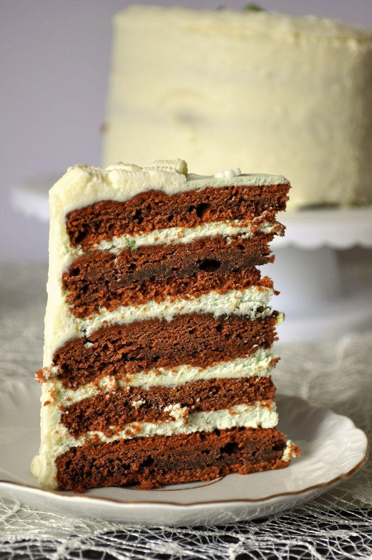 A decadent five layer chocolate cake, filled with fresh mint and lime icing and coated in white chocolate glaze.