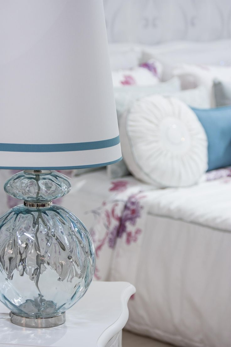 Table Lamp #PureLiving #GreenApple #GAhomestyle #homestyle #TableLamp #BlueWhite #shadeGlassBlue #glass