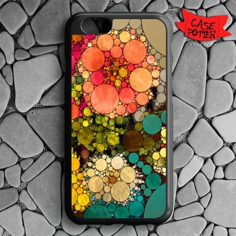 Pattern Round Full Color iPhone 6 iPhone 6S Black Case