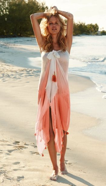 Watercult sarong beachwear dress : Pareo in Soft Peach | Coco Bay