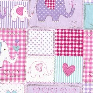 Cute cotton nursery curtains in a charming patchwork effect elephant design, available in two drop lengths and in either blue/red/ecru or pink/lilac colours.