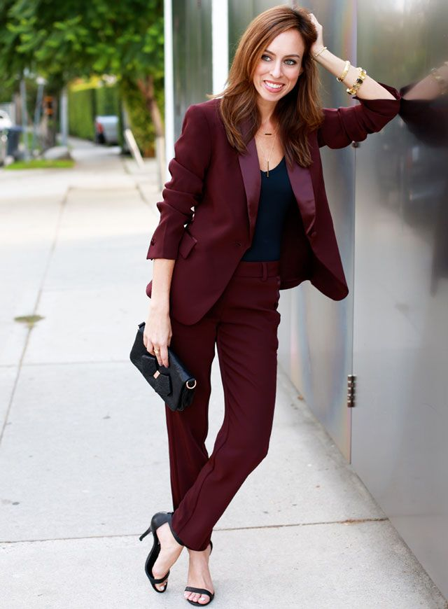 Grace's Pinot Noire wine-colored Victoria's Secret Sydne Style pants suit with short jacket, tux-style lapels, and cigarette legs and peeptoe stiletto sandals from chapter 43