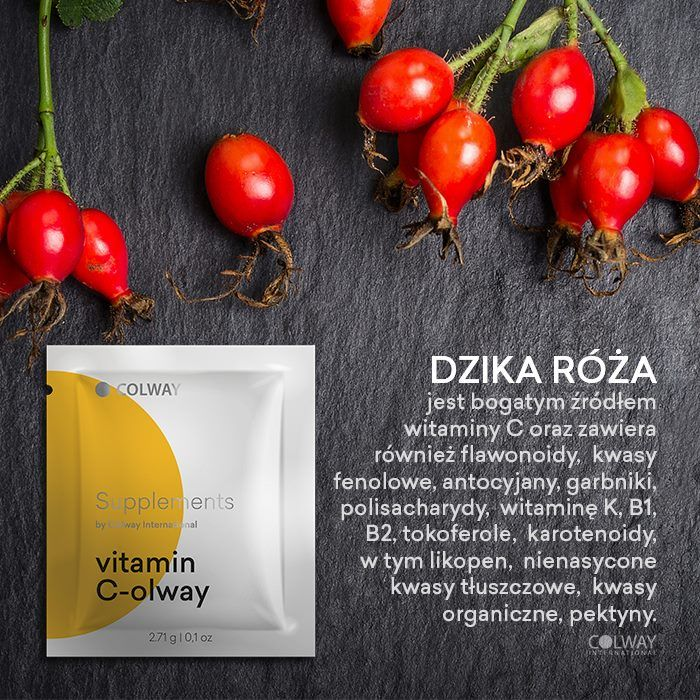VITAMIN C-OLWAY WITH COLLAGEN Vitamin C is the most important of the vitamins taken in our food, because of its role in the formation of bio-collagen, i.e. the protein of youth and the main component of the connective tissue.