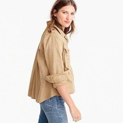J.Crew Petite garment-dyed safari shirt jacket