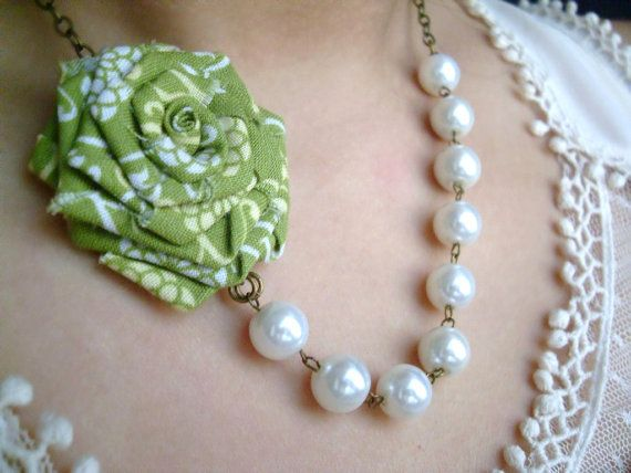Handmade Fabric Rose and White Glass Pearls by TreasuredAdornment, $27.00