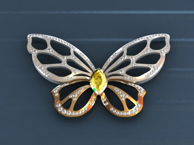Charles Benoliel - Butterfly Brooch (CAD Render)