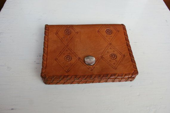 Vintage tooled leather wallet tan brown leather by TaylorGirlsShop