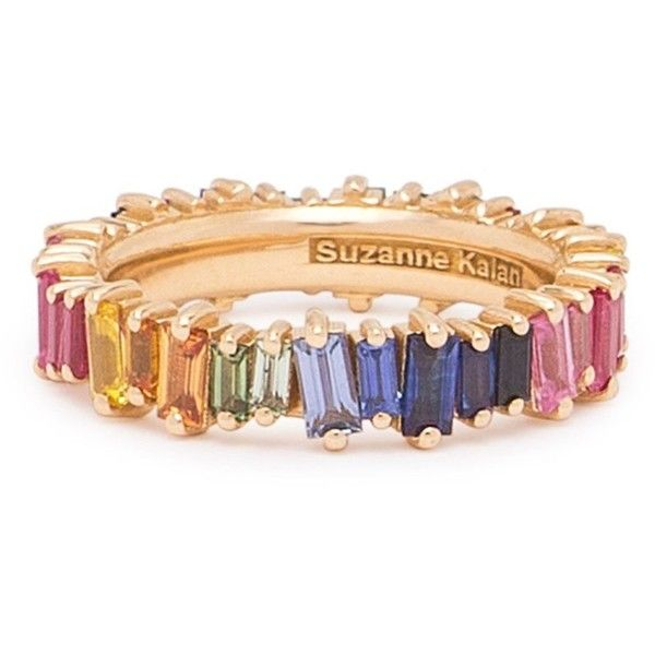 18K YELLOW GOLD RAINBOW SAPPHIRE ETERNITY BAND ($3,000) ❤ liked on Polyvore featuring jewelry, rings, band rings, 18 karat gold ring, white sapphire rings, yellow sapphire ring and sapphire rings