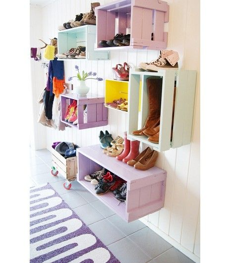 "@Who What Wear - Outside The Box This colorful storage idea has ""DIY expert"" written all over it. Just grab wood crates at your local hardware store or make them yourself.  Tip: For a dimensional effect, try different sized boxes."