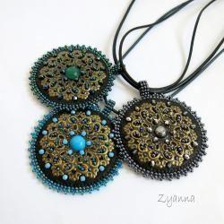 medalion,krótki,stonowany,do bluzki - Wisiory - Biżuteria