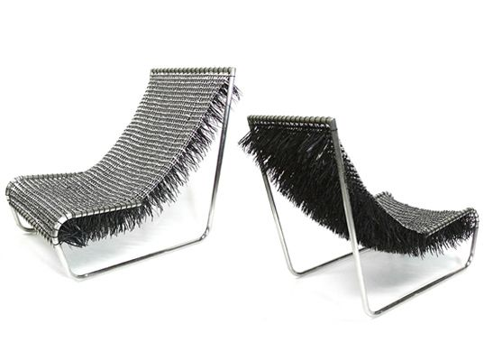 "Carlos Alberto Montana Hoyos created both a chair and a bowl as part of the A la Lata series (""To the Can""). The designs are held together by plastic zip ties, which adds to their appearance as much as the metal tabs themselves. Via Inhabitat."