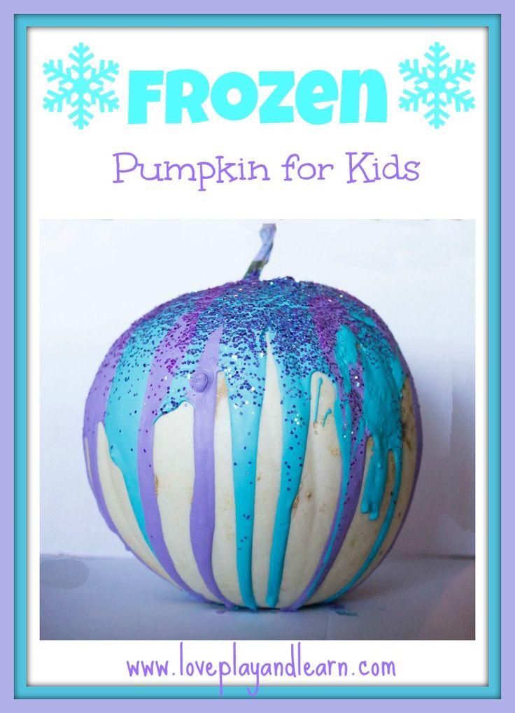Frozen Pumpkin Painting for Kids. Elsa Pumpkin Activity.