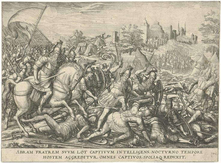 anoniem | Abraham bevrijdt Lot, attributed to Symon Novelanus, 1577 - 1627 | Abraham, links te paard gezeten, valt 's nachts met zijn mannen het leger van koning Kedorlaomer en diens bondgenoten aan om zijn neef Lot te bevrijden. Rechtsachter worden Lot en de zijnen door de vijand uit Sodom weggevoerd. Onderaan een verwijzing in het Latijn naar de Bijbeltekst in Gen. 14.