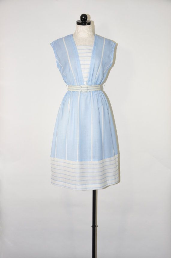 20% OFF 80s pale blue dress / 1980s nautical dress / striped sleeveless dress / blue and white day dress