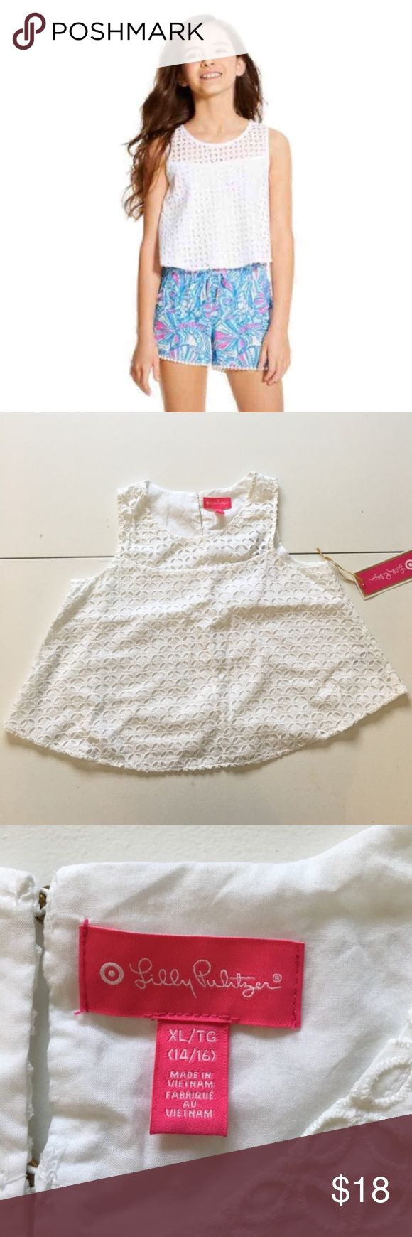 NEW Lilly Pulitzer XL Girls Crochet Top White Brand new with tags. Size XL.  Price is firm. Lilly Pulitzer for Target Shirts & Tops Blouses