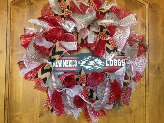 University of New Mexico Wreath UNM Burlap by ThePorchDesigns