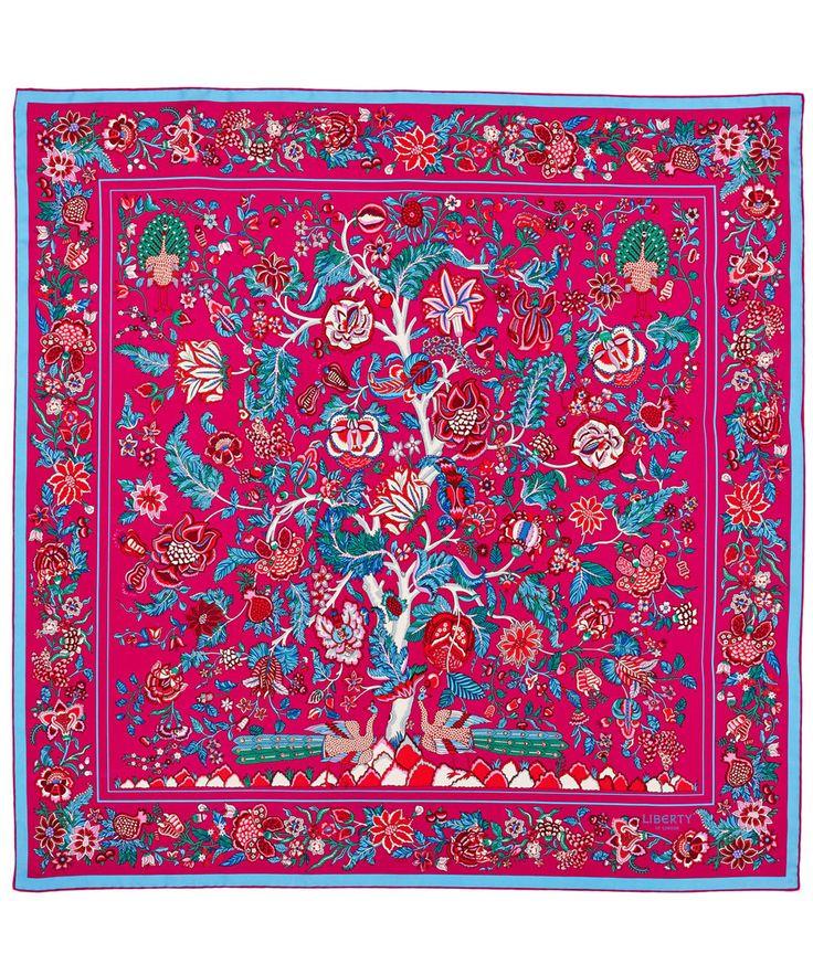 Liberty London Pink Tree of Life Silk Scarf   Silk Scarves by Liberty London   Liberty.co.uk