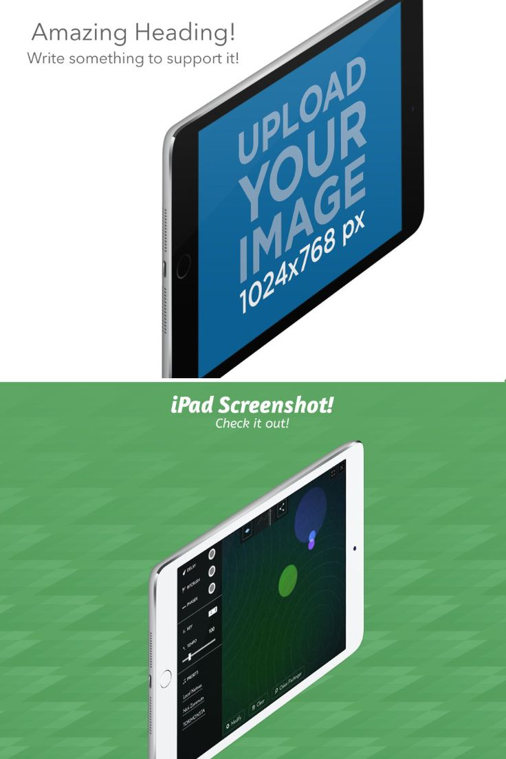 Angled White iPad Mini in Landscape Position Appstore Screenshot Maker