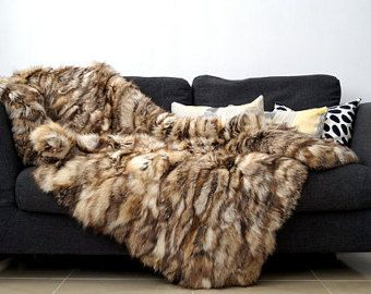 real fox fur blanket throw
