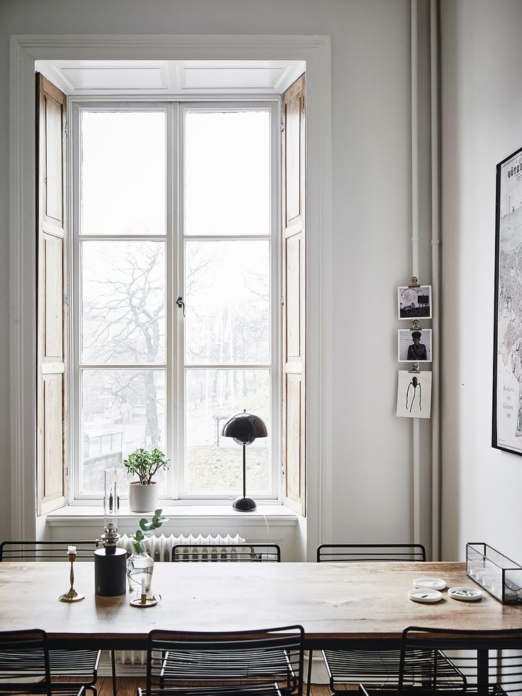 My kind of dining space - Hege in France, large window, wood and black mixed, period features