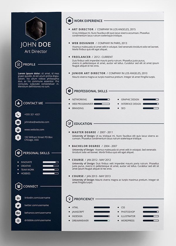 free creative resume template in psd format more - Free Professional Resume Template Word