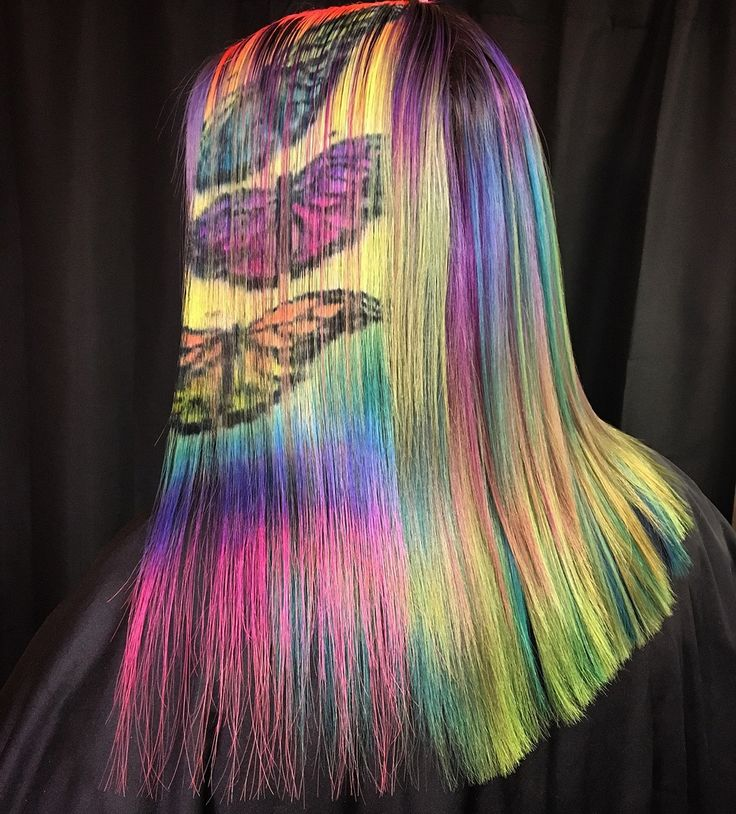 Butterflies on Nikki's rainbow hair