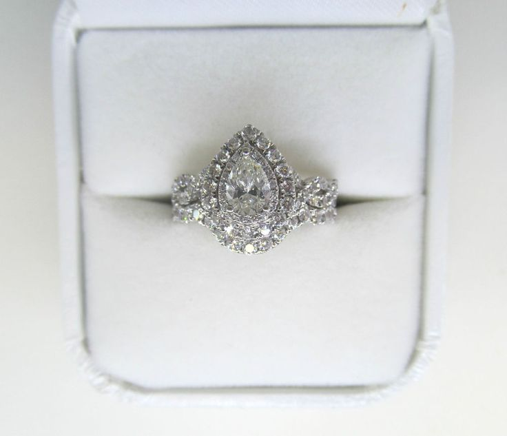 14K White Gold Neil Lane Pear Double Halo Bridal Set, 1.50ct Diamond Ring in Jewelry & Watches, Engagement & Wedding, Engagement Rings | eBay