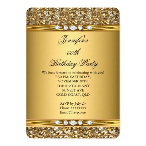 263 best woman birthday party invitations images on pinterest elegant gold glitter look diamond birthday party 5x7 paper invitation card stopboris Gallery