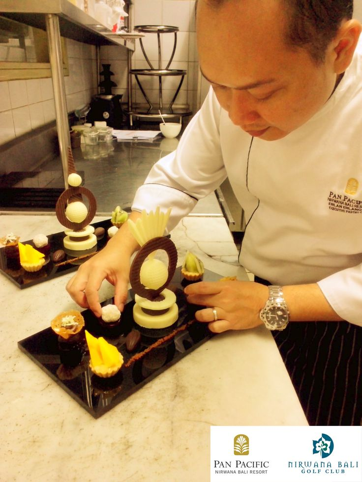 """When we working to give our best"" Amenities of the day with our Executive Pastry Chef Erlan #PanPacificBali #Bali #Resort #Chef #Pastry #dessert #cake #dish #culinary"