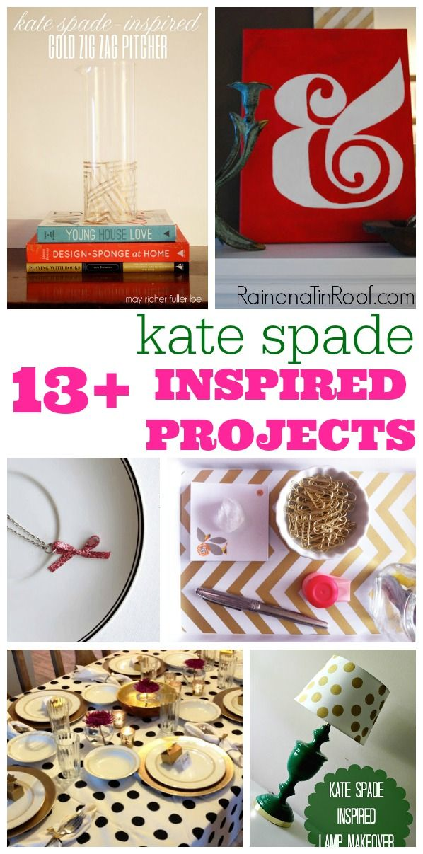 AWESOME ideas that are so much cheaper than the real thing! Love Kate, but not the price! These are so for you! 13 DIY Kate Spade Inspired Projects via RainonaTinRoof.com