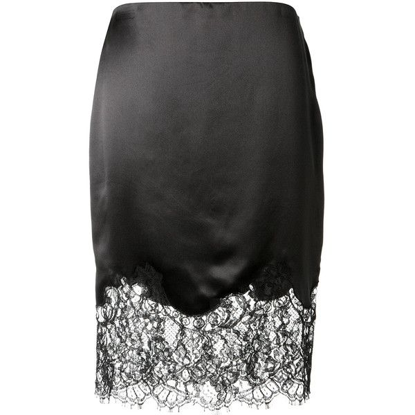 Givenchy Lace-Trimmed Silk-Satin Skirt ($1,170) ❤ liked on Polyvore featuring skirts, givenchy skirt, lace trim skirt and givenchy