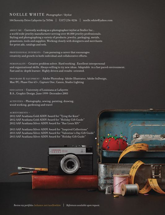 photo stylist and photographer resume for noelle white