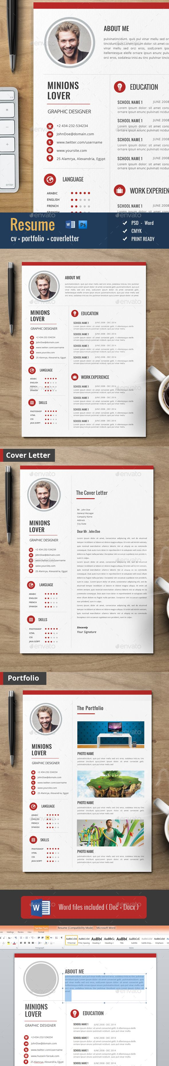 Clean Cv / Resume - Resumes Stationery                                                                                                                                                     More