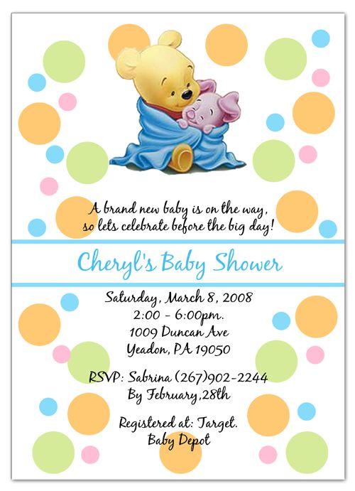 Classic Winnie The Pooh Baby Shower Invitations Diabetesmangfo