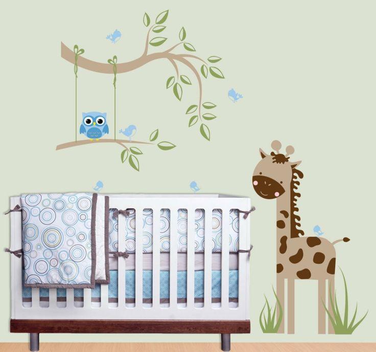 décoration murale chambre bébé hibou sur balançoire et girafe à droite