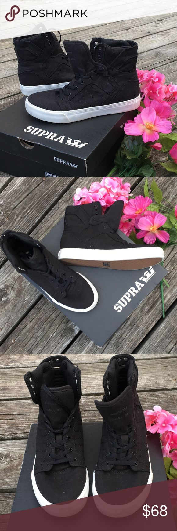 Supra high top sneakers Super high top canvas boys sneakers. Vulcanized rubber sole. Padded collar. New with tags and box. Will fit women size 6. I'm putting size 6 down but please not it's a boys 5. Bundle and save 15% Supra Shoes Sneakers