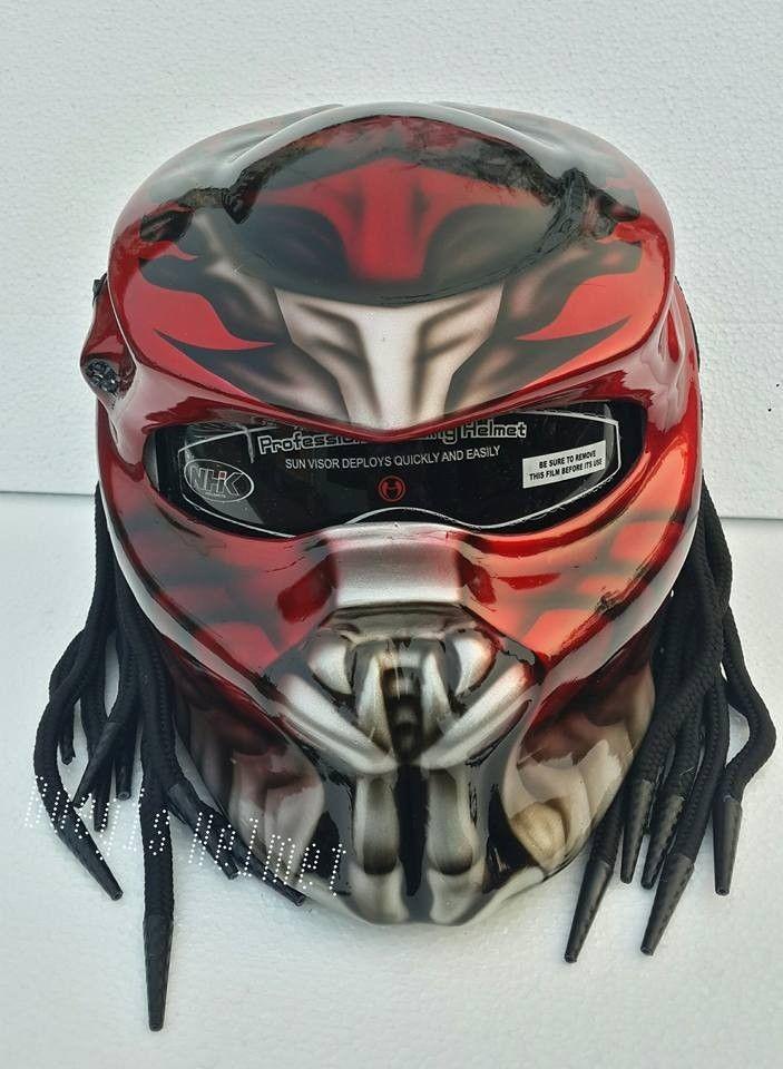 Predator Helmet Custom For Bikers Street Fighter style DOT Approved #Celloz #Helmet