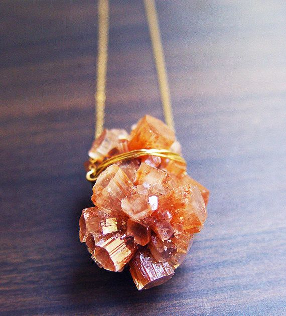Peach Aragonite Necklace  14k Gold  Mineral Stone by friedasophie, $65.00