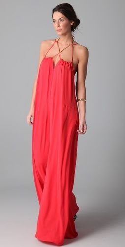 Beautiful coral maxi dress. I think a leather belt would be perfect.