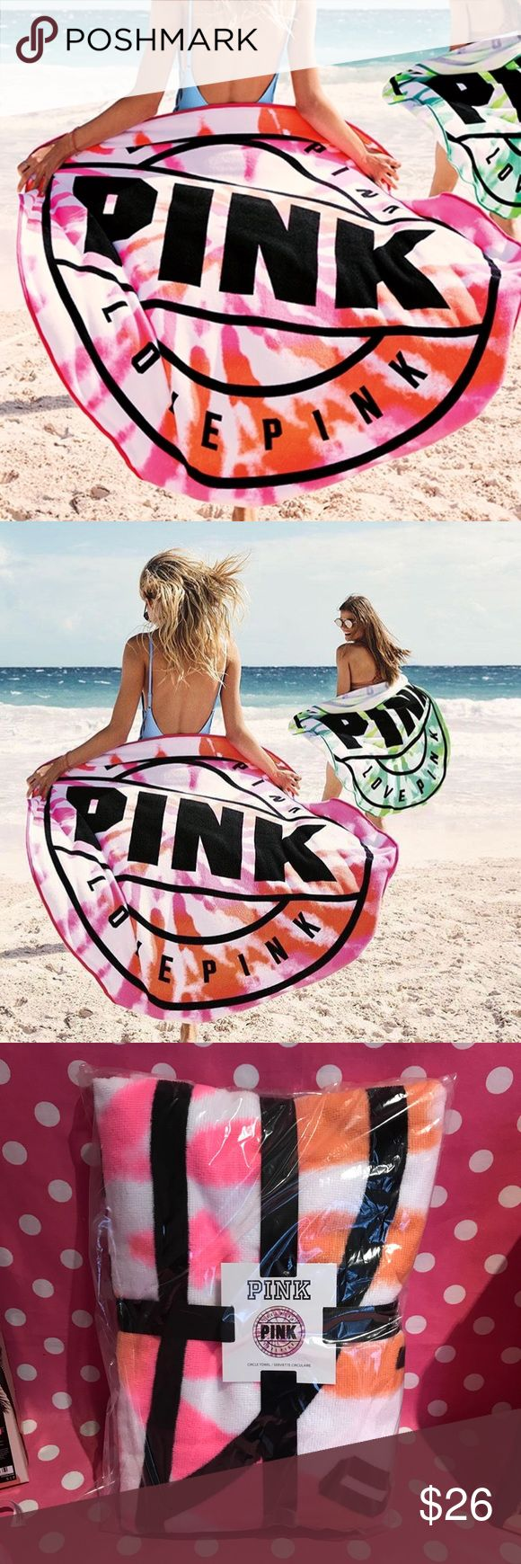 """NWT VS PINK round beach towel 💖Thanks for shopping at Candy Land!💖  ✅NWT VS PINK round beach towel  ‼️PRICES ARE FIRM ~ My items are priced at the lowest already. Please do not ask """"lowest"""". Remember Posh takes a fee 😩.   ⭐️LOTS OF NWT VS PINK items for sale on my page! ⛔️PLEASE NOTE: NWT= New with tags OR New in online bag. PINK online orders come in bags with NO tags.  🚫NO HOLDS   🚫NO MODELING 🚫I DON'T TRADE ✋LOWBALLS WILL BE IGNORED ✋RUDE COMMENTS = BLOCKED PINK Victoria's Secret…"""