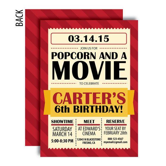 Movie Party Invitation - A Printable Celebration Design - Optional Back Side Design Included