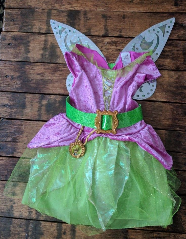 Disney Pirate Fairy Dress-up Costume Gown with Wings Halloween Size: 4-6X