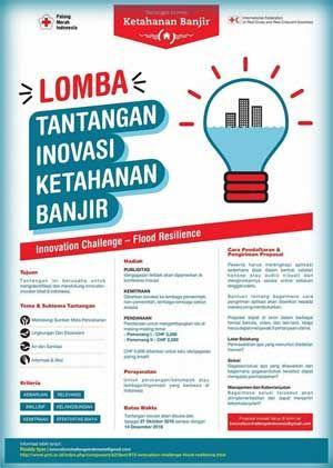 #PMI #PalangMerahIndonesia #InnovationChallenge #LombaTantanganInovasi #KetahananBanjir PMI INNOVATION CHALLENGE 2016 Lomba Tantangan Inovasi Ketahanan Banjir  DEADLINE: 14 Desember 2016  http://infosayembara.com/info-lomba.php?judul=pmi-innovation-challenge-2016-lomba-tantangan-inovasi-ketahanan-banjir
