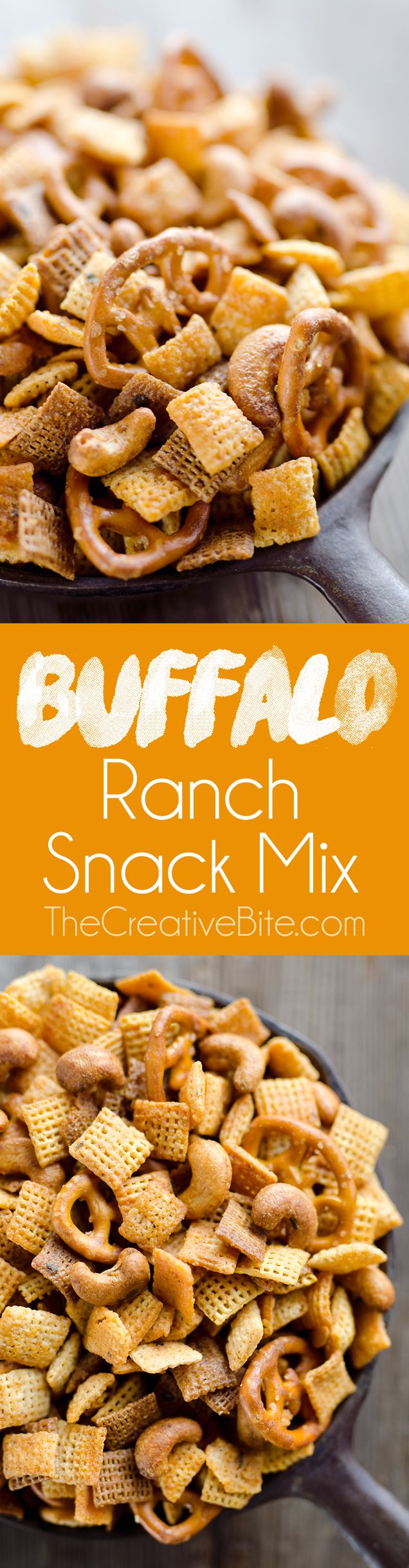 Buffalo Ranch Snack Mix is an easy treat perfect for the big game or holidays. Chex Mix is combined with pretzels and cashews and tossed in a spicy buffalo ranch sauce for a twist on your traditional snack mix.