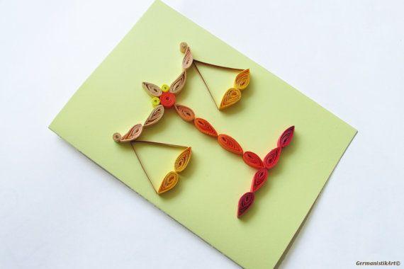 Libra Quilling Card, carte d'anniversaire de Zodiac, Zodiac quilling Card, carte de voeux fait main Zodiac